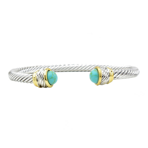 Two Tone Twisted Cable Turquoise Open Cuff Bracelet