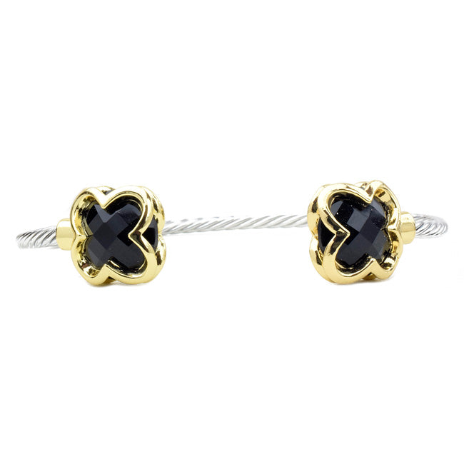 Two Tone Twisted Cable Black CZ Open Cuff Clover Bracelet