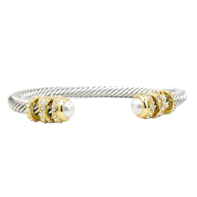 Two Tone Twisted Cable Pearl & CZ Open Cuff Bracelet