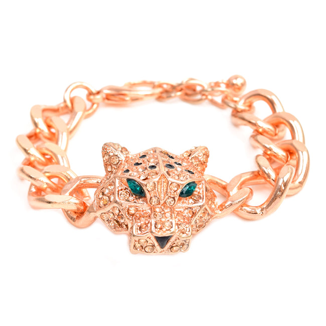 Rose Gold Tone Chain Link Bracelet with Crystal Studded Jaguar