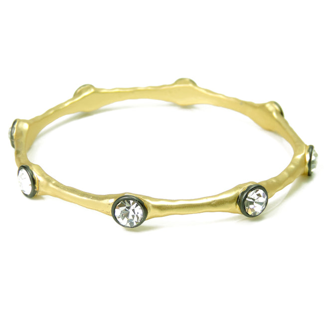Hammered Gold Bangle Bracelet with Cubic Zirconia