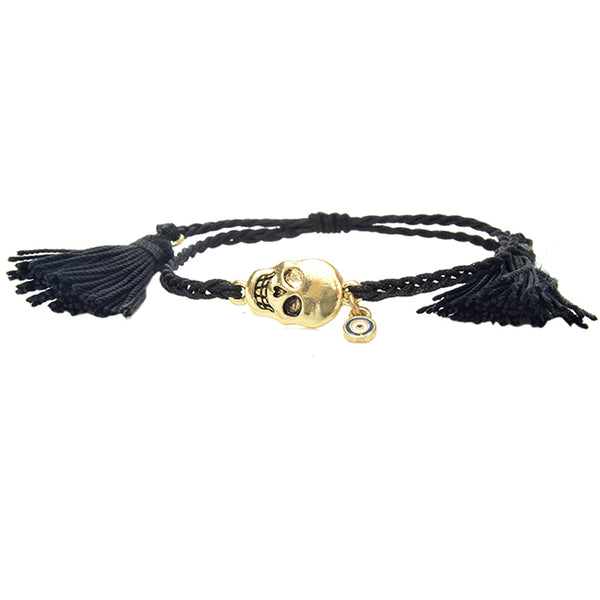 Black Braided Rope Adjustable Bracelet with Gold Skull