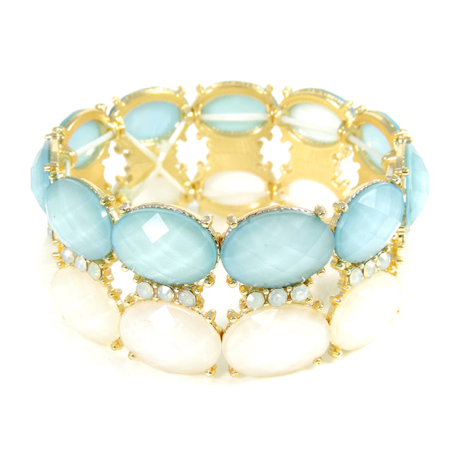 Double Row Blue and Ivory Acrylic Stone Stretch Bracelet