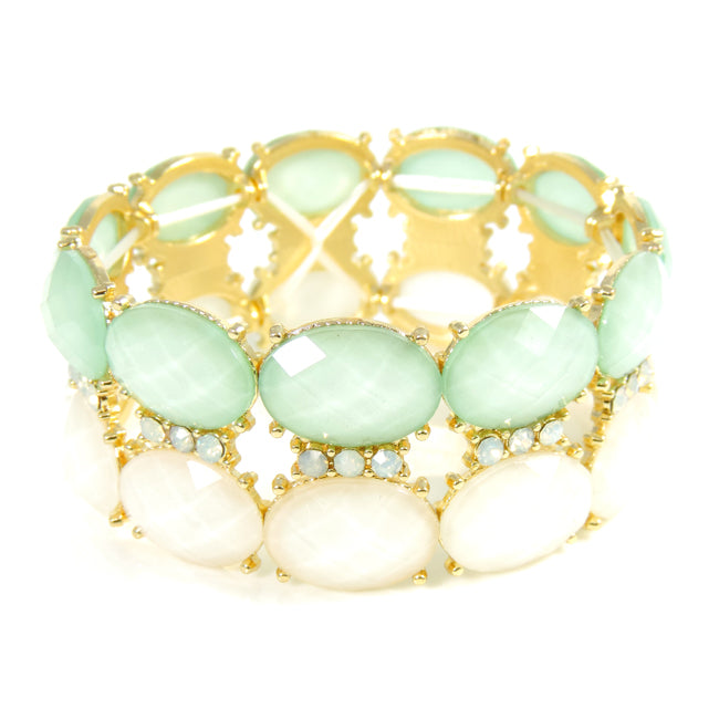 Double Row Mint and Ivory Acrylic Stone Stretch Bracelet