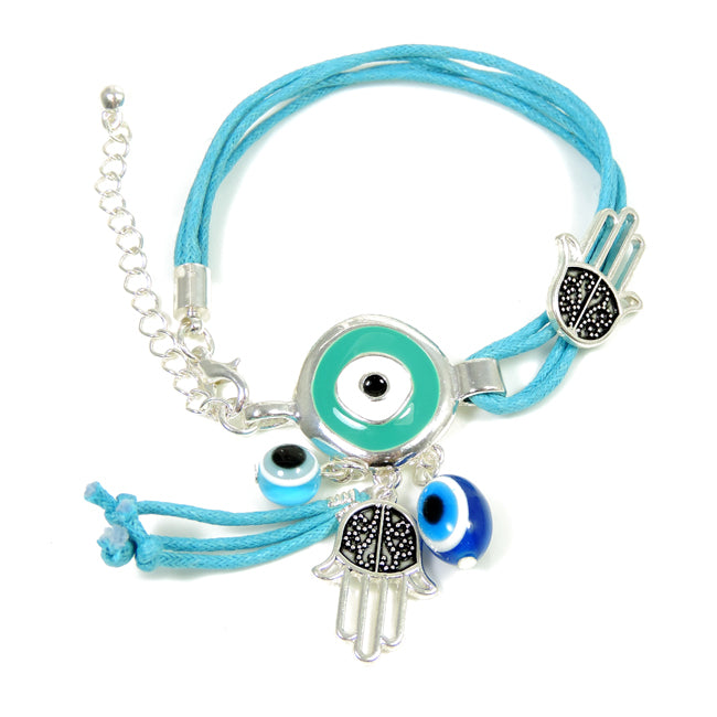 Light Blue Hamsa Charm Bracelet with Crystal Eyes