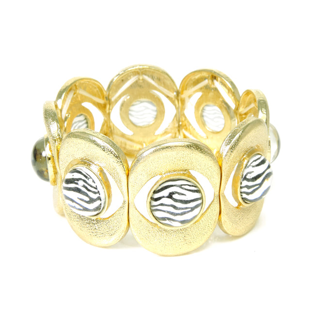 Gold Zebra Print Stretch Bracelet