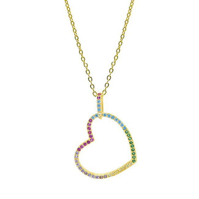 Sterling Silver Gold Plated Multi Color Cubic Zirconia Heart Pendant Necklace