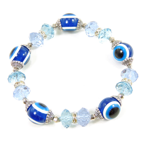 Blue Evil Eye & Crystals Beaded Stretch Bracelet
