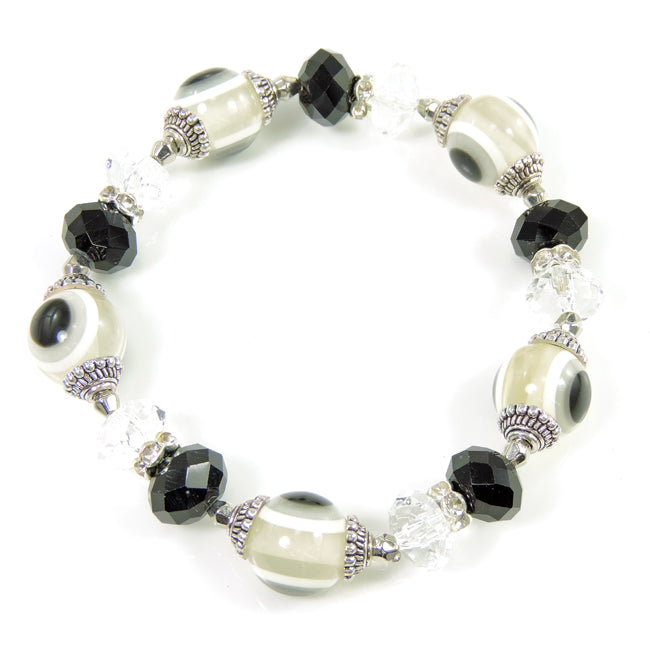 Clear Evil Eye & Crystals Beaded Stretch Bracelet