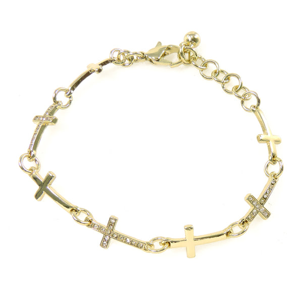 Gold Cross Link Crystal Bracelet