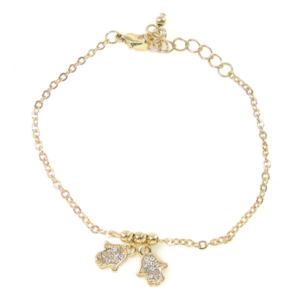 Gold Hamsa Hand Crystal Linked Bracelet