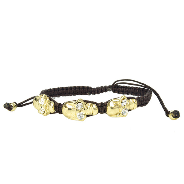 3 Skull Head Gold & Brown Adjustable Bracelet