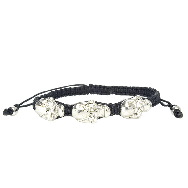 3 Skull Head Silver & Black Adjustable Bracelet