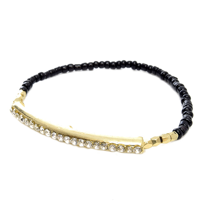 Black Beaded and Crystal Studded Pave Bar Stretch Bracelet