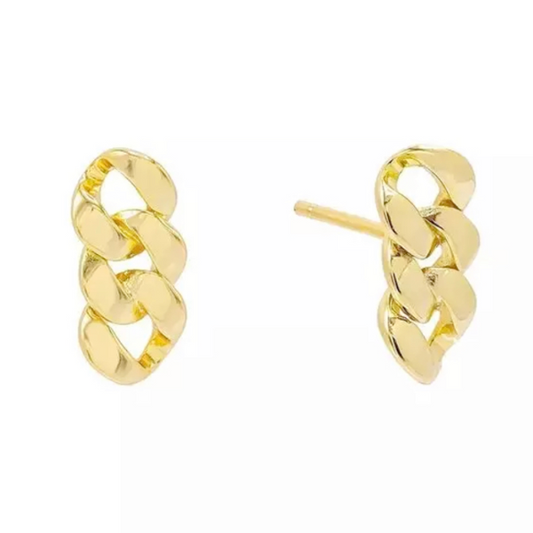Gold Linked Chain Post Earring