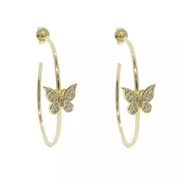 Gold Cubic Zirconia Butterfly Earring