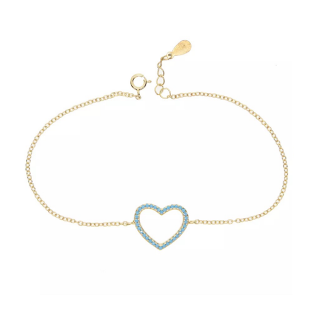Sterling Silver Gold Plated CZ Heart Chain Bracelet