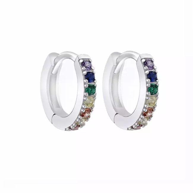 Sterling Silver Multi Color Cubic Zirconia Huggie Earring