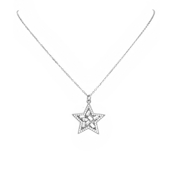 Silver Cz Star Pendant Necklace