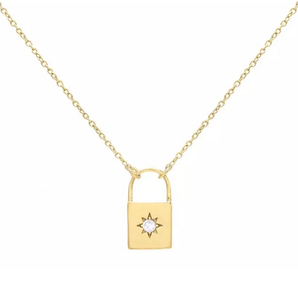 Gold Cubic Zirconia Lock Pendant Necklace