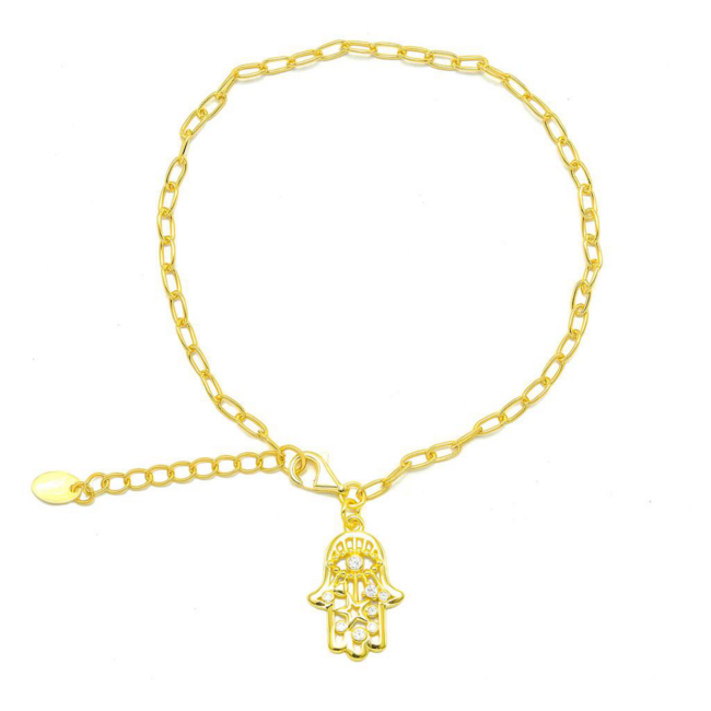 Sterling Silver Gold Plated CZ Hamsa Linked Chain Bracelet
