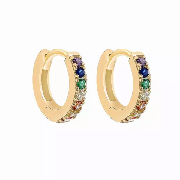 Sterling Silver Gold Plated Multi Color CZ Huggie Earring
