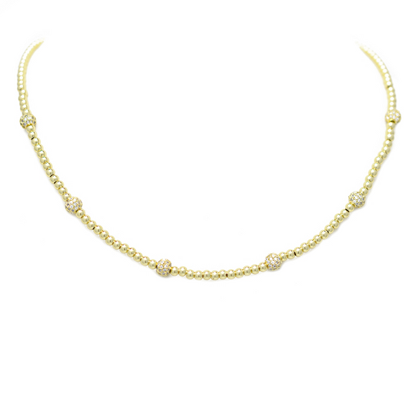 gold cz beaded necklace