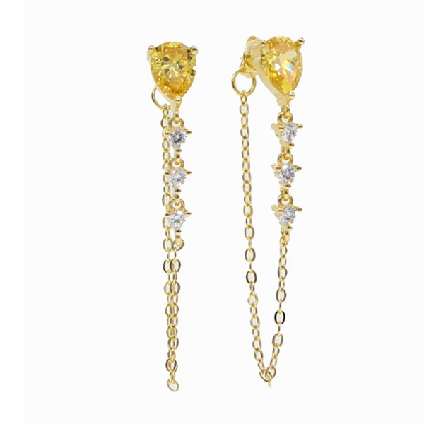 Gold Topaz Cubic Zirconia Teardrop Dangle Earring