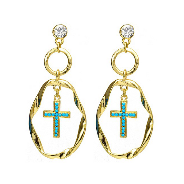 Gold Crystal & Turquoise Dangle Cross Earring