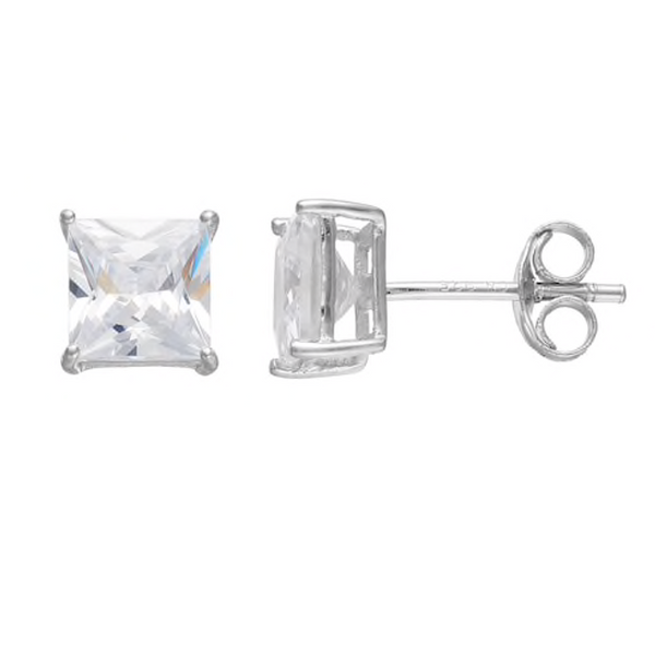 Silver Cubic Zirconia Square Stud Earrings