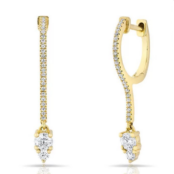 Gold Cubic Zirconia Teardrop Dangle Earring