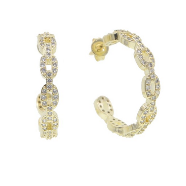 gold cz chain link earring