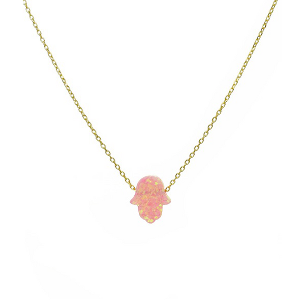 Sterling Silver Gold Plated Necklace with Real Opal Hamsa Pendant