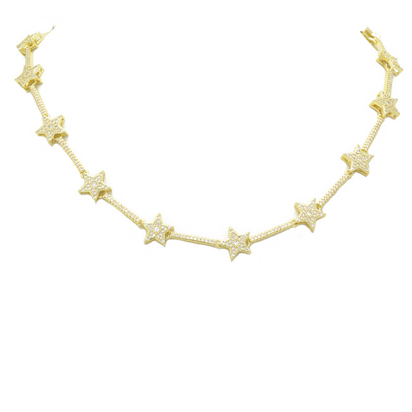 gold cz star necklace