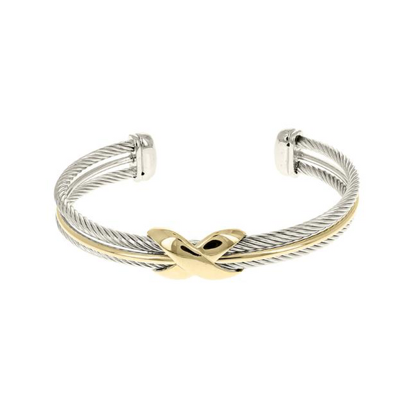 Two Tone Twisted Cable Open Cuff X Bracelet