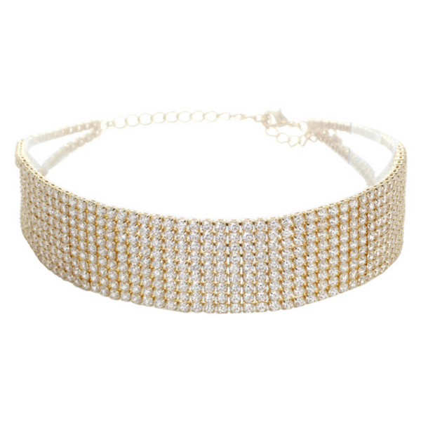 Gold Elegant Cubic Zirconia Studded Choker Necklace