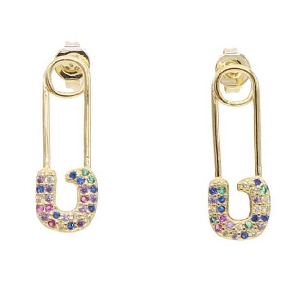 Gold Multi Color Cubic Zirconia Paper Clip Dangle Earring