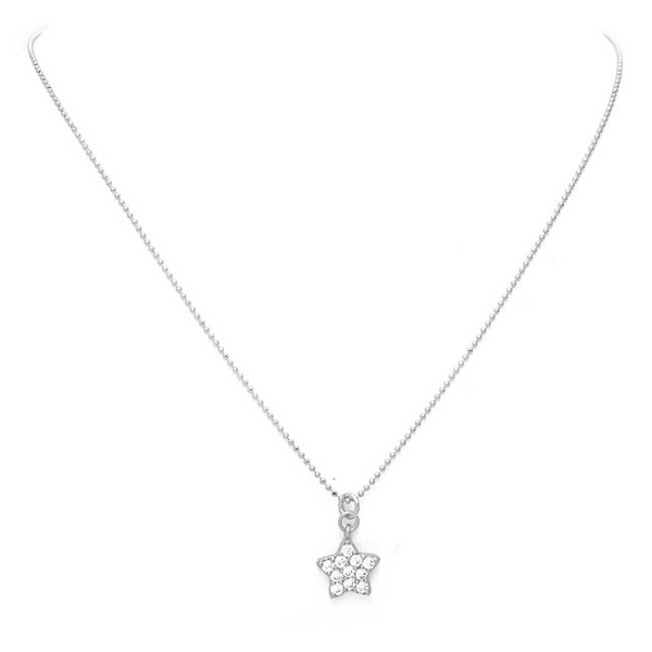Silver Cubic Zirconia Pave Star Pendant Necklace