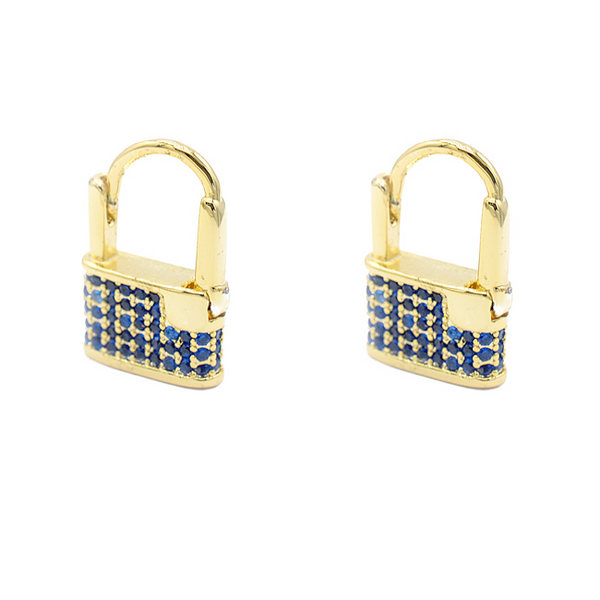 Gold Cz Lock Earring