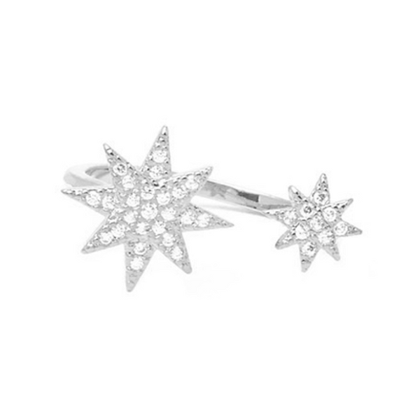 Silver Cubic Zirconia Starburst Adjustable Ring