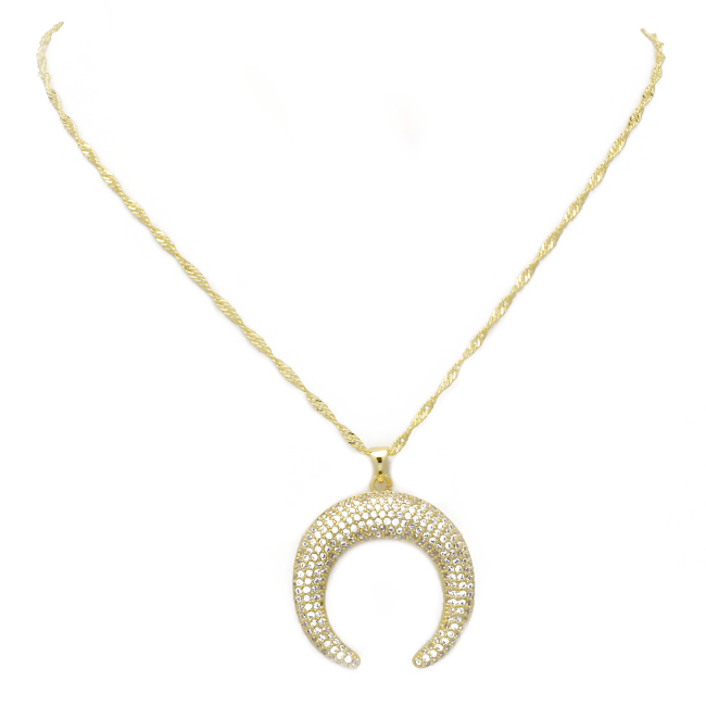 gold cz horn necklace