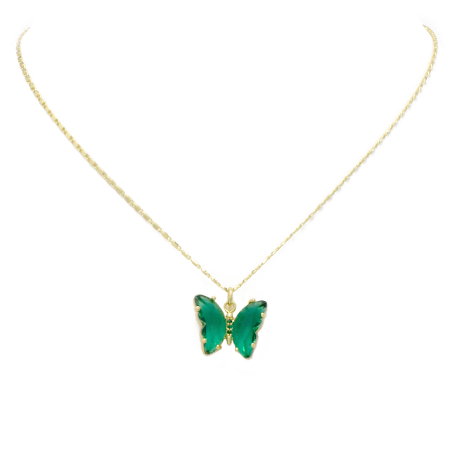 Gold Crystal Butterfly Pendant Necklace