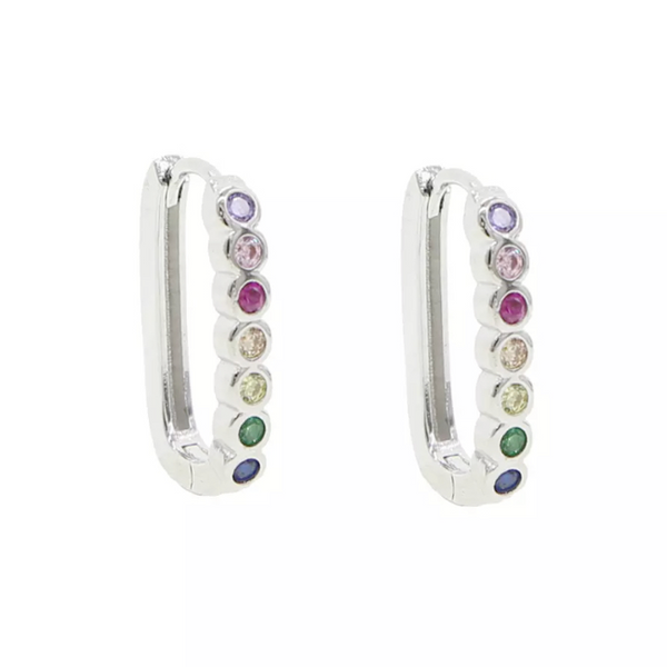 Silver Multi Color Cubic Zirconia Hoop Earring