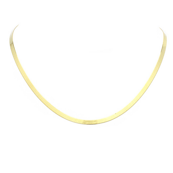 "16"" Sterling Silver Gold Plated Herringbone Necklace"
