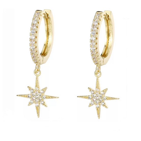 Gold Cubic Zirconia Pave Starburst Dangle Earring