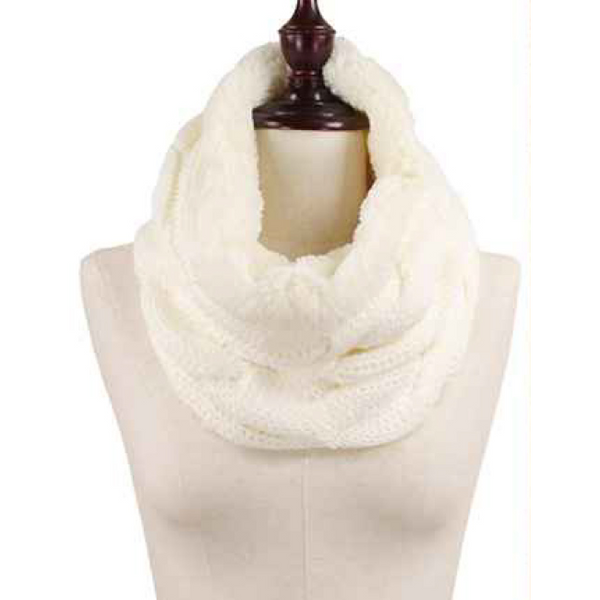 Cable Knit Faux Fur Lined Tube Scarf