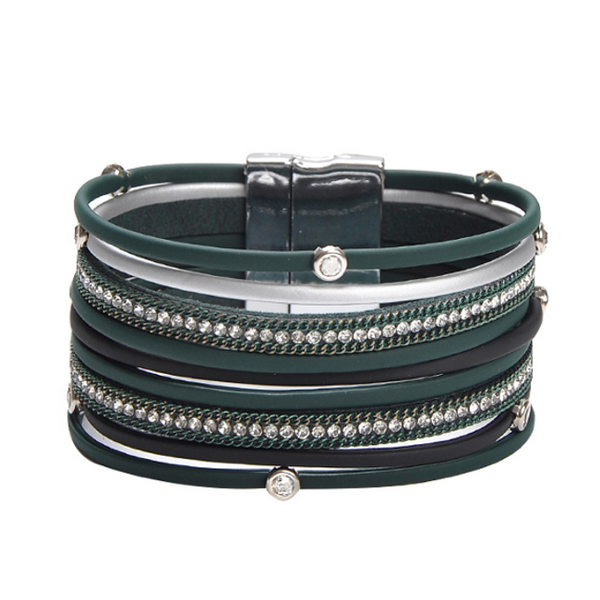 Multi Strand Vegan Leather Magnetic Bracelet with Crystals