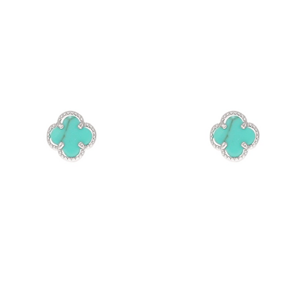 Turquoise Clover Stud Earring