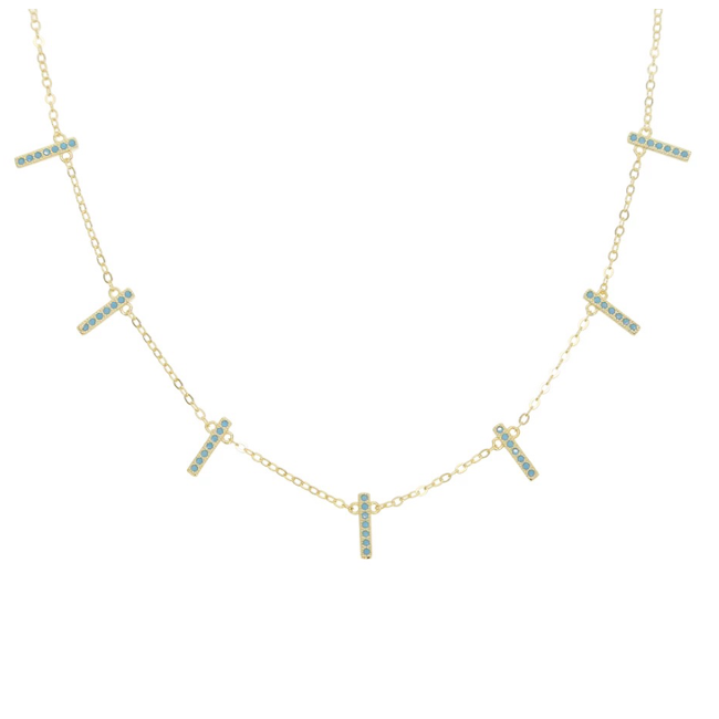 Sterling Silver Gold Plated CZ Bar Necklace