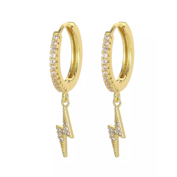 Gold CZ Pave Lightning Bolt Dangle Earring